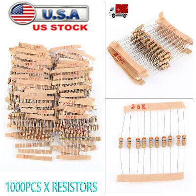 1000pcs Resistors Assortment Kit 12 Watt 5 100 Values 1ohm-10m Ohm Carbon Film
