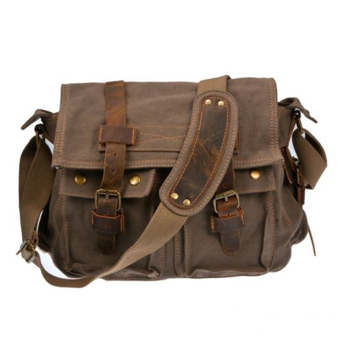 ... School Messenger Shoulder Bag Men s Vintage Crossbody Satchel Canvas  Leather Bag School Messenger Shoulder Bag Men s Vintage Crossbody Satchel  Canvas ...