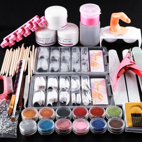 Pro Acrylic Nail Art Set 12Pc Glitter Powder Tips Brush Tools Kit Starter DIY US