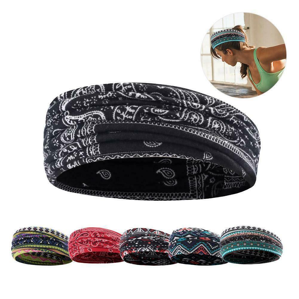 Hair Head Band Sweatband Stretch Women Boho Floal Wrap Elastic Sports Yoga Gym Clothing, Shoes & Accessories