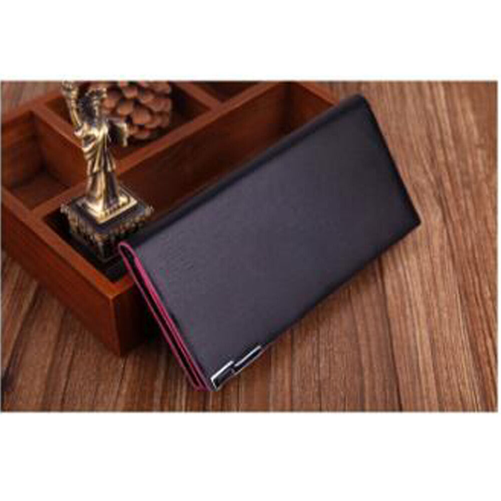 Pink Women Luxury Leather Bifold Purse ID Credit Card Holder Clutch Long Wallet Clothing, Shoes & Accessories