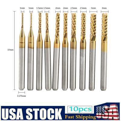 10pcs Milling Cutter 4 Flutes Straight Shank Cnc Router Bit End Mill Set 1mm-3mm