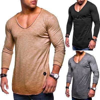 Behype Herren Oversize Longsleeve T-Shirt Sweatshirt Longline Pullover NEU