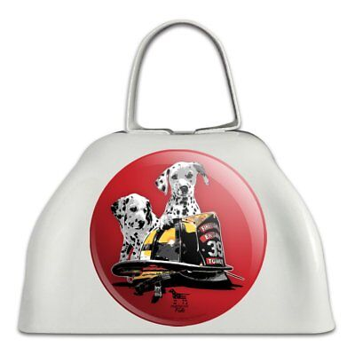 Dalmatian Dogs Firefighter Fire Helmet White Metal Cowbell Cow Bell Instrument