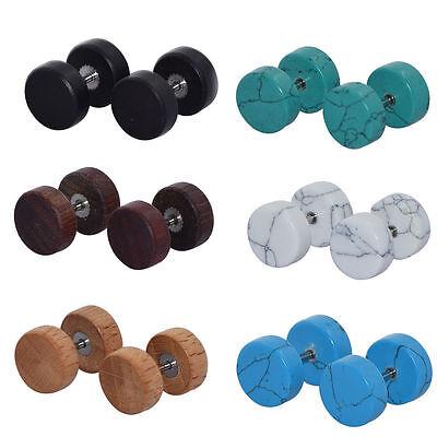 12 Pcs Fake Cheater Ear Plugs Barbell Ear Stud Earring Ear Gauges Wood -