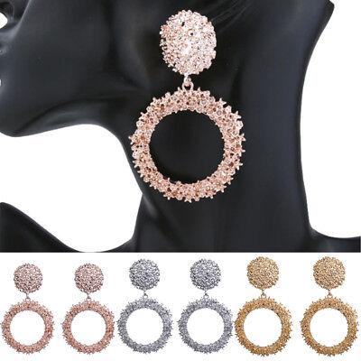 Crystal Hoop Dangle Clip (New Fashion Women Crystal Rhinestone Dangle Drop Earrings Big Round Hoop Shiny )