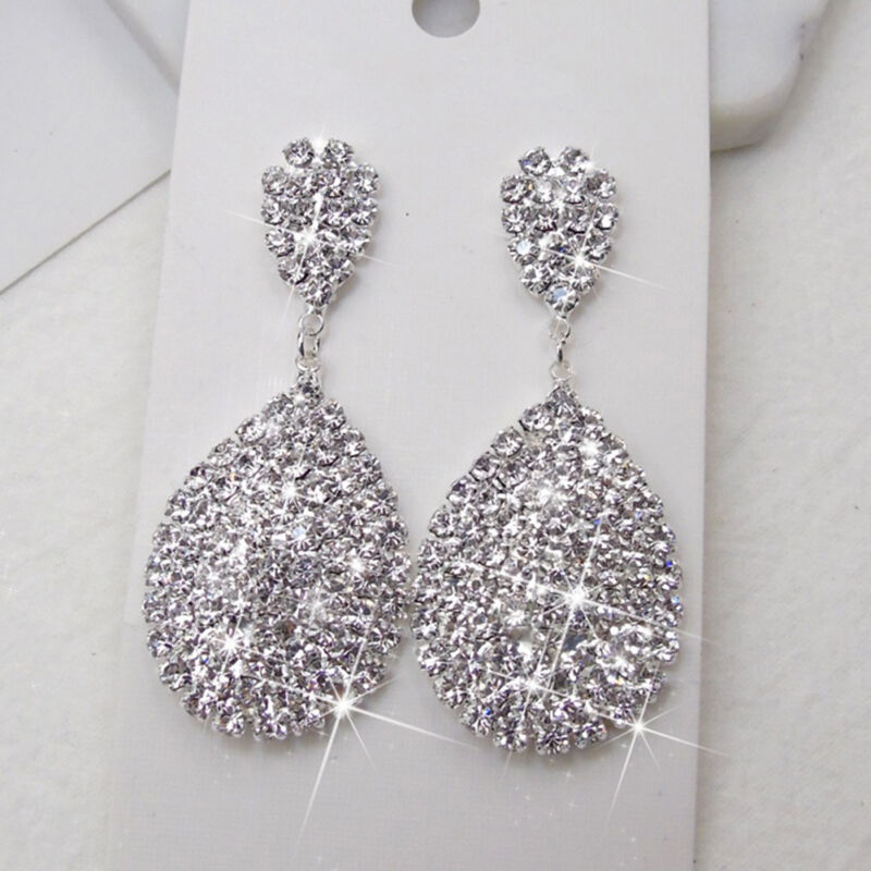 black waterdrop dangle club party resin crystal rhinestone women jewelry earring