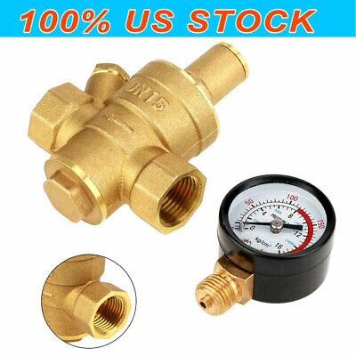 Dn15 Water Pressure Regulator Npt 12inch Adjustable Brass Reducer Gauge Meter
