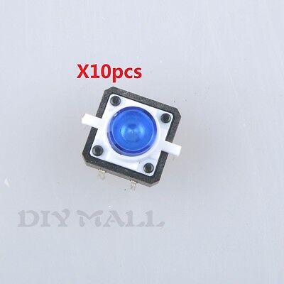 10pcs Blue Led Tactile Button Push Switch Momentary Tact With Led 4pin Round Cap