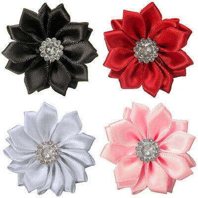 DIY 10PCS Satin Ribbon Flower with Crystal Bead Appliques/craft/Wedding Decor Crafting Pieces
