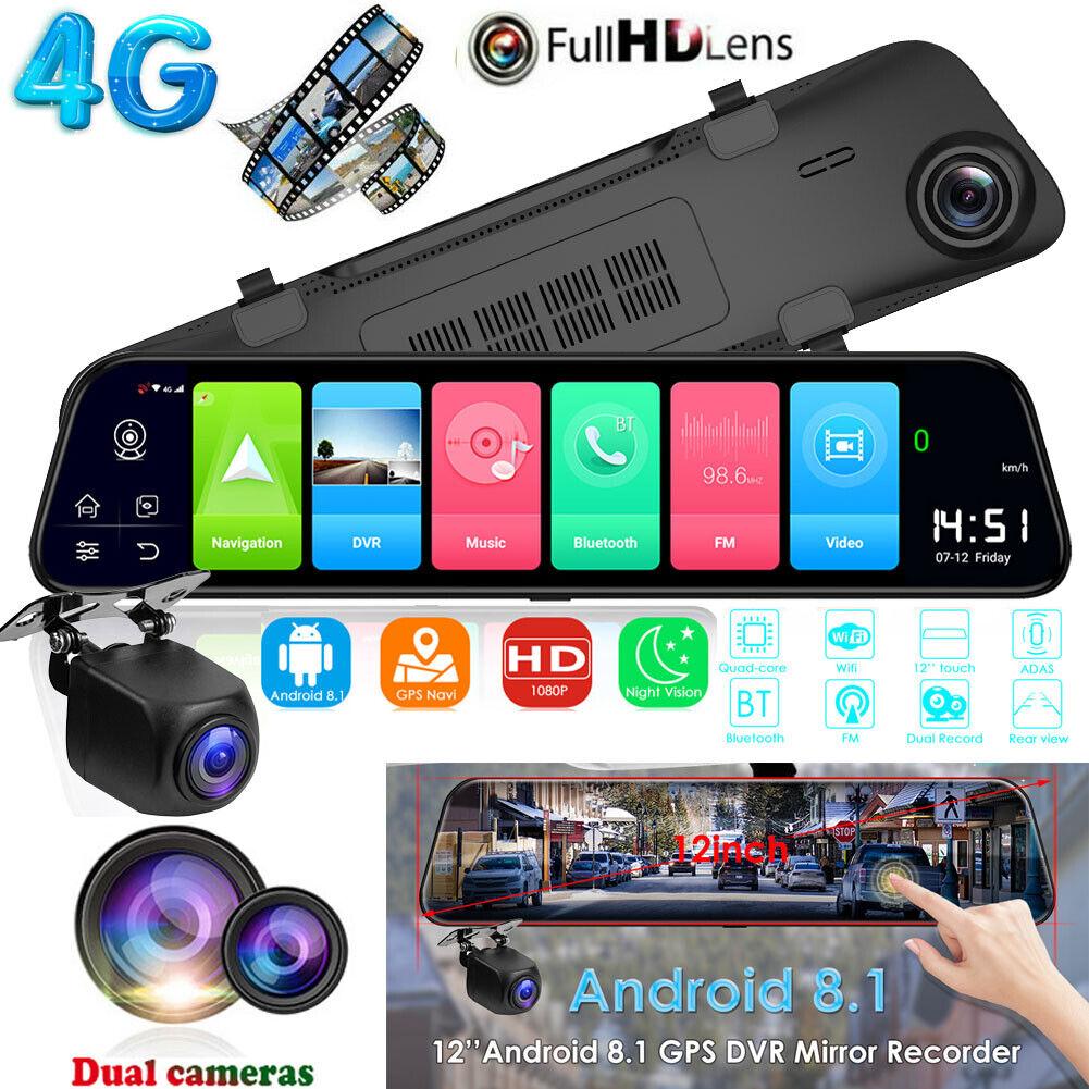 "Dual Lens 12"" HD Car DVR 4G Android8.1 GPS Video Camera Reco"