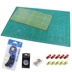 Quilt Making Kit (Rotary Cutter, Quilters Ruler, Cutting Mat,Clips & Head Pins )