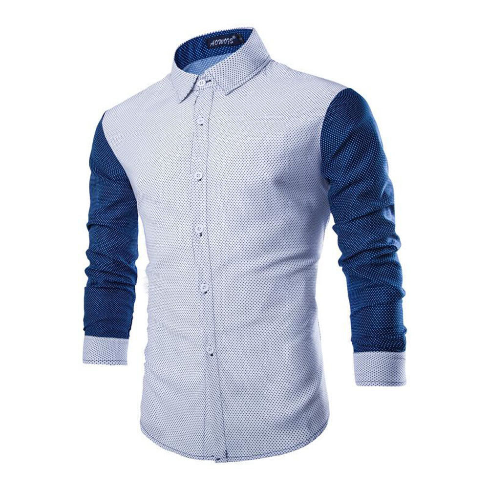 Luxury Fashion Men Slim Fit Shirt Long Sleeve Dress Shirts Casual Shirt Tee Tops