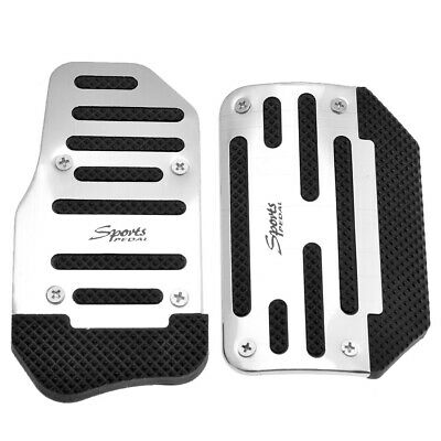 Universal Racing Sports Non-Slip Automatic Car Gas Brake Pedals Pad Cover Silver