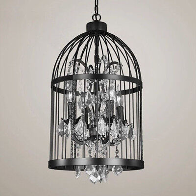 Iron Birdcage - Retro LED Birdcage Iron Dining Villa Chandelier Crystal Pendant Light Lamp