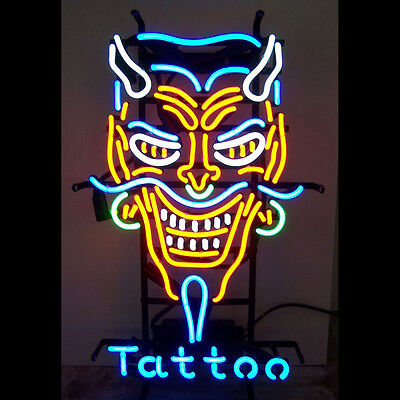 Tattoo Neon Sign Display Shop Store Bright Light Real Glass Business Sign24x20