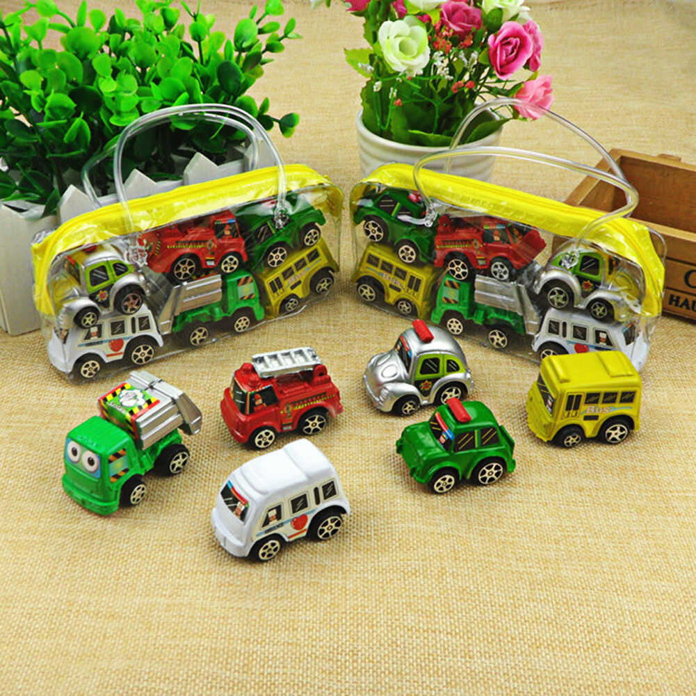 6pcs/Set Kids Children Nursery Pull  Back Model Car Vehicle Educational Toy Gift