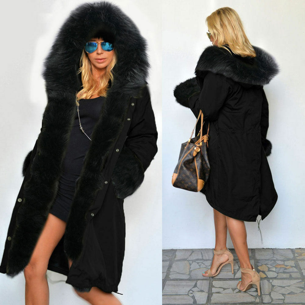 Women Winter Warm Thick Faux Fur Coat Outdoor Hood Parka Long ...