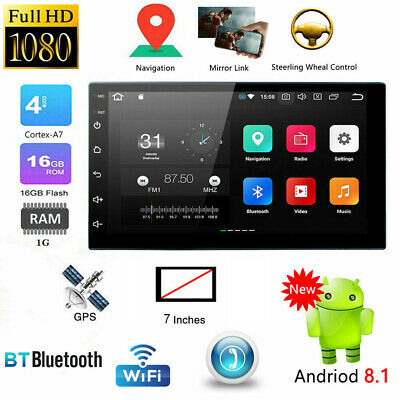 "7"" HD Android 8.1 GPS Navigation 2 DIN Car Stereo MP5 Player Blue Tooth WiFi USA"