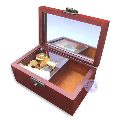 """Play """"Canon in D Major"""" Melody Wooden Sankyo Music Box With an Antiqued Lock"""