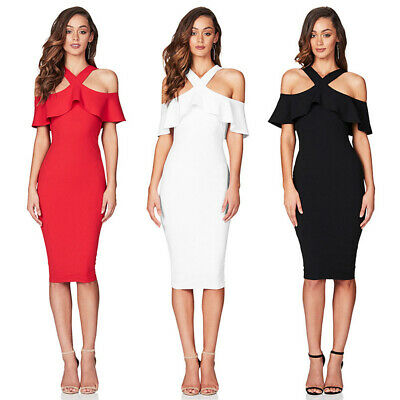 Women Cold Shoulder Ruffle Bodycon Formal Gown Evening Party Cocktail Midi (Halter Ruffled Evening Gown)