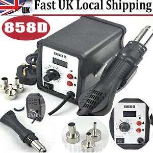 858D 220V SMD Soldering Desoldering Station Hot Air Rework Gun Tool + 3 Nozzles