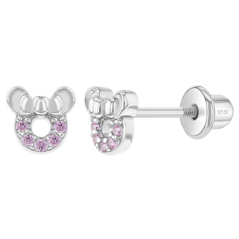 925 Sterling Silver CZ Mouse Baby Screw Back Earrings Fits Toddlers & Girls