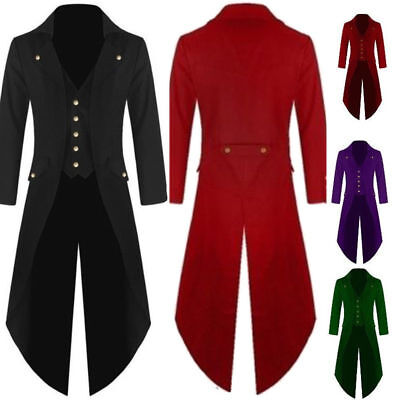 USA Retro Steampunk Swalow Gothic Men's Coat Tailcoat Jacket Ringmaster Tail - Steampunk Jacket Mens
