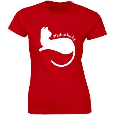 Feline Lucky Irish Cat St Patrick's Day Women T-Shirt Funny St. Patty's Gift Tee