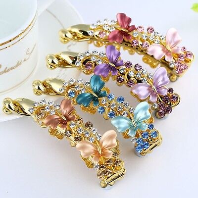 Women Elegant Banana Hair Clip Hairpin Claw Ponytail Holder Butterfly Resin