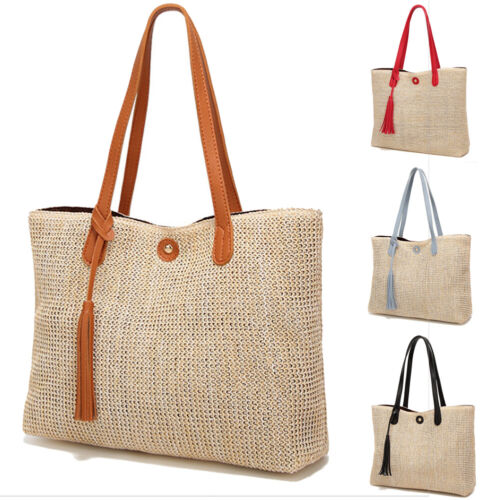 Women Boho Woven Handbag Summer Beach Tote Straw Bag Square Rattan Shoulder Bags