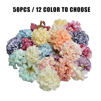 Home Decoration - 50 Heads Artificial Silk Flowers Bouquet Fake Hydrangea Heads Wedding Home Decor