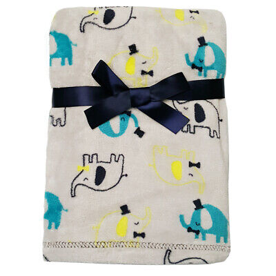 Baby Gear Plush Velboa Ultra Soft Baby Blanket 30 x 40, Gray Elephants