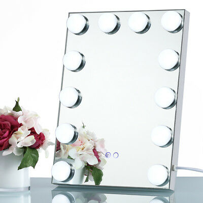 Silver Led Bulb Vanity Lighted Hollywood Makeup with Dimmer Stage Beauty Mirror