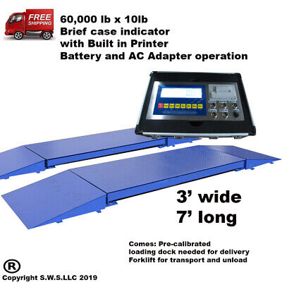 Portable Truck Axle Scale with Indicator 60,000 x 10 lb Heavy duty 7' L x 3' -