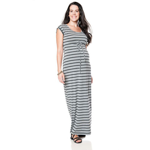 Oh Baby by Motherhood Striped Maxi Dress Maternity XL L