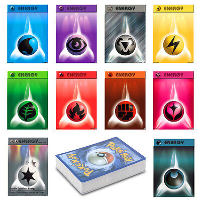 50Pcs Basic Pokemon Energy Cards (5 of Each Type Including Fairy Darkness Metal)