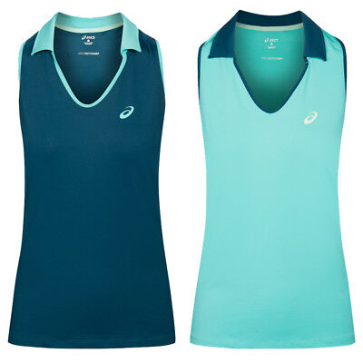 ASICS Sleeveless Polo Damen Tennis Squash Shirt Sleeveless Polo-Shirt 132409 neu
