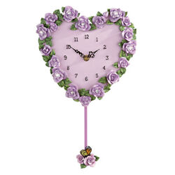 Lavender Rose Heart Wall Clock, by Collections Etc