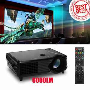 6000 Lumens Full HD 1080P LED LCD VGA HDMI TV Home Theater Projector Cinema J4