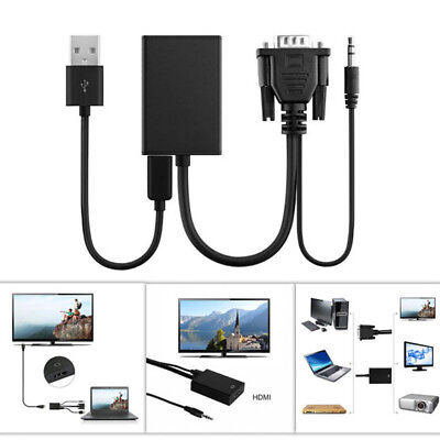 Universal VGA To HDMI Audio TV Computer Adapter Black  Micro Power Cable ()