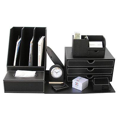 10pcsset Office Desk Sets File Holder Leather Organizer Cabinet Boxes Black New