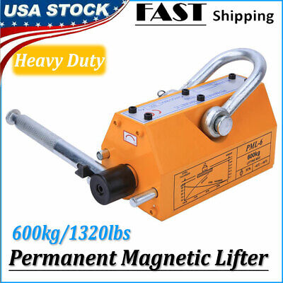 Permanent Magnetic Lifter Heavy Duty Steel Lifting Hoist Crane Tool 1320lb 600kg