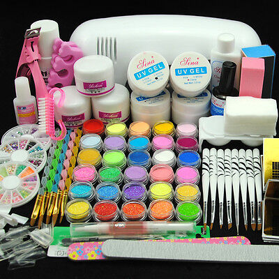 9W UV Gel Curing Lamp Dryer 30 Nail Art Acrylic Glitter Powder Liquid Salon Kit