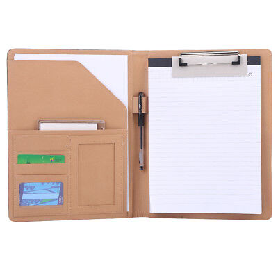 Multifunction Office Leather Notebook Writing A4 File Folder Pen Card Organizer
