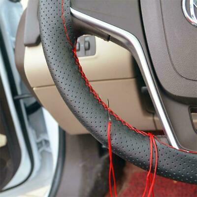 rot PU-Leder DIY Auto Lenkradbezug 38cm mit Nadel und Faden  TG Schwarz