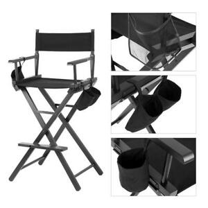 Black Foldable Makeup Artist Directors Chair Wood Light Weight Durable