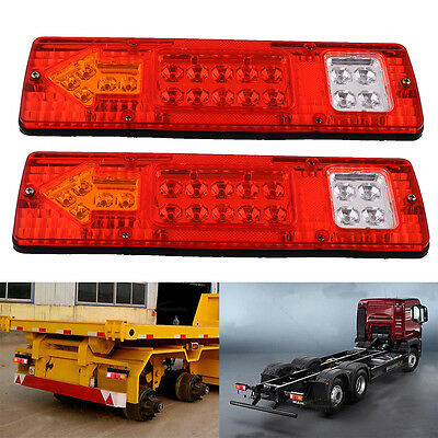 2X 19 LED Trailer Truck RV Rear Tail Running Stop Light Indicator Lamp