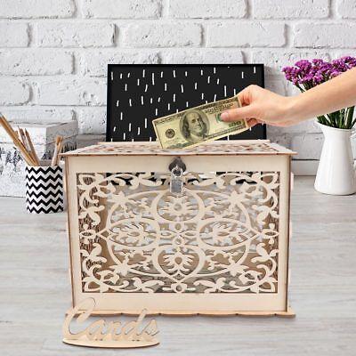 Locking Wedding Card Box (Wooden Wedding Card Box Wedding Advice Box + Lock Wedding DIY Money Box Gift)