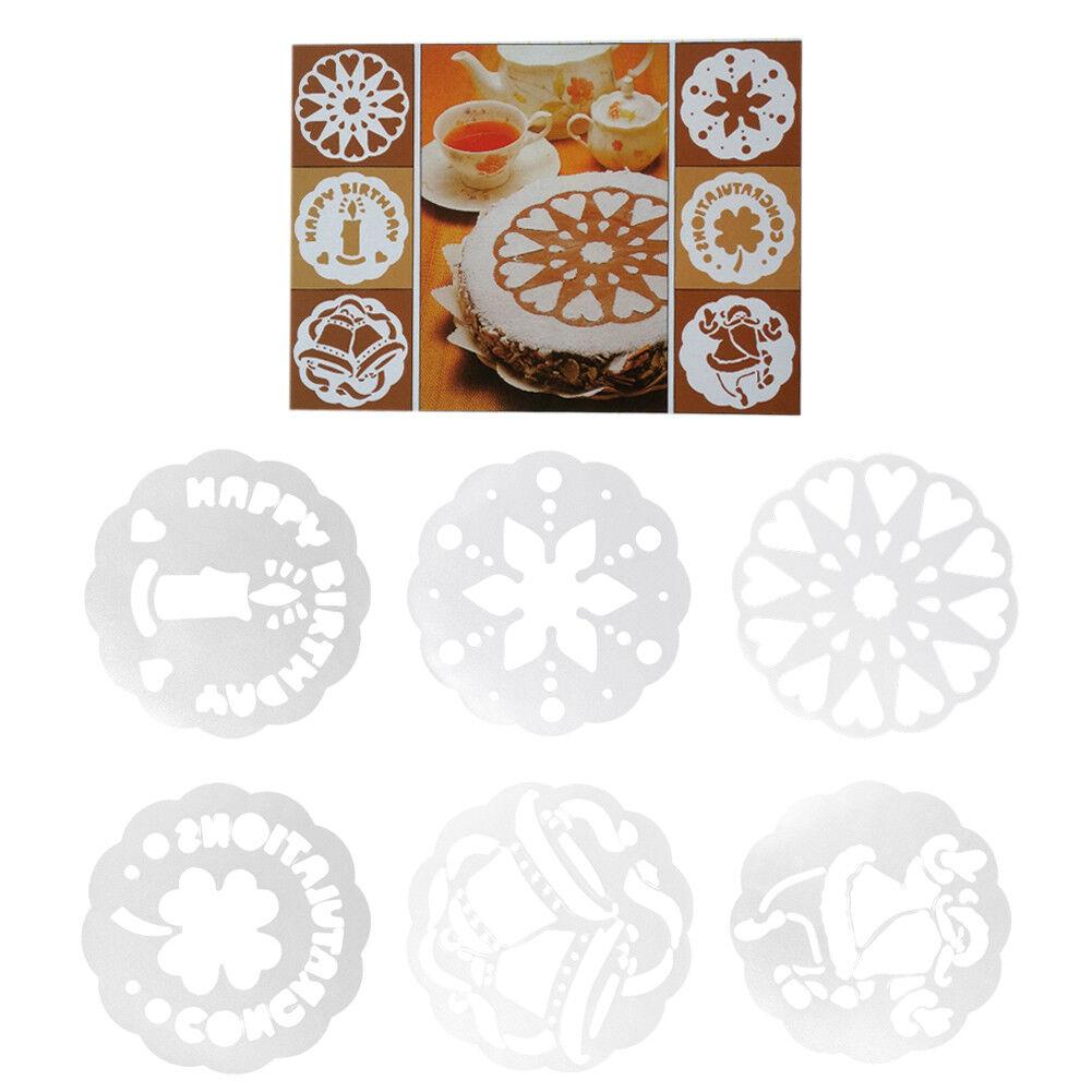 Set 6 stencil mascherine decorazione torta torte dolce dolci Cake Design festa